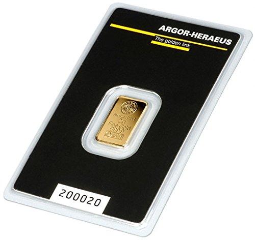 ARGOR Heraeus 2g Gramm Goldbarren 999.9 black