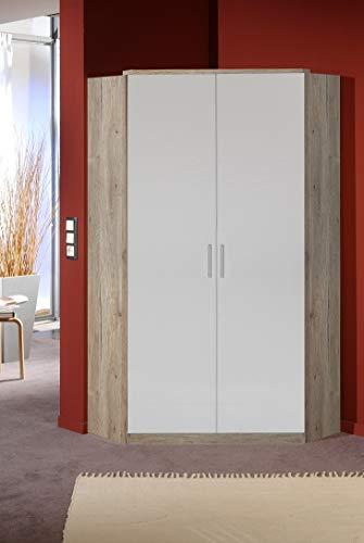 Wimex Joker Eckschrank, 2 türiger, Holzdekor, San Remo-Eiche/weiß, 95 x 95 x 198 cm