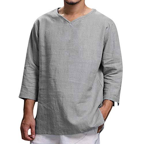 UJUNAOR Camisetas de Mangas Tres Cuartos para Hombre, de Lino, cómodas, de Verano, Talla Grande Blanco Gris L