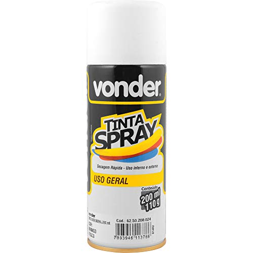 Tinta em spray branca, fosca, com 200 ml, Vonder