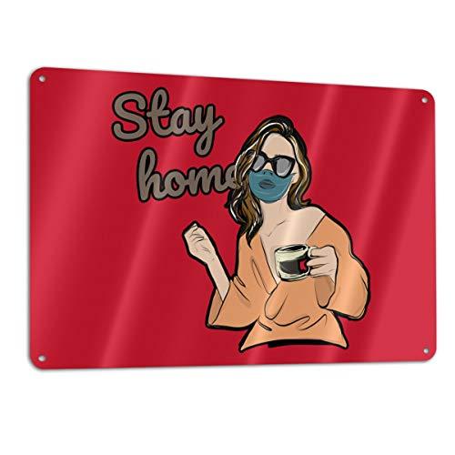 Stay at Home Stop Coronavirus Covid-19 (23) Aluminum Metal Sign 12x8 Inch