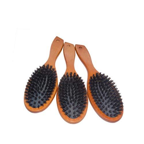 Pelo del Cuero cabelludo 2.019 cerdas Naturales de jabalí Cepillo para el Masaje Peine antiestático Cepillo Plano Haya manija de Madera del Pelo Que Labra la Herramienta Pincel