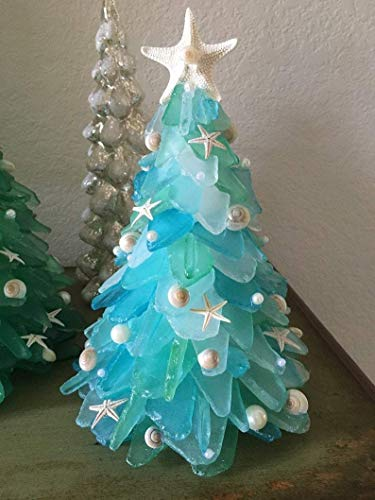 Christmas Sea Glass Tree-1-1.5 lbs of Gorgeous Shades of Green, Turquoise,sea,Turquoise Man-Made Sea Glass for Holiday Ornament