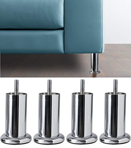 IPEA 4X Gambe per Divani, Mobili, Armadi Modello Acquamarina Base – Set di 4 Piedi in Ferro – Piedini dal Design Minimal Colore Metallo Cromato, Altezza 100 mm