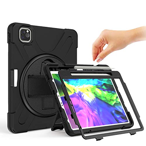 BRAECN iPad Pro 11 2020&2018 Case -[Support iPad Pencil Charge], Shockproof Rugged Kickstand Protective Case (with Hand Strap/Shoulder Strap/Pencil Holder) for iPad Pro 11 Inch 2nd Gen &1st Gen-Black