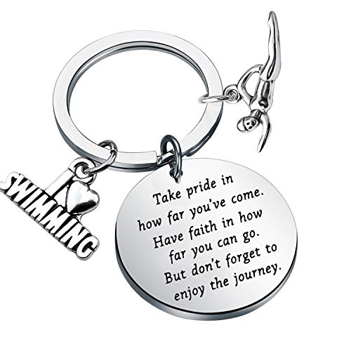 Swim Keychain I Love Swimming Lover Gift Take Pride in How Far You Have Come Swim Team Inspirational Gift Swimming Jewelry for Swimmers (silver)