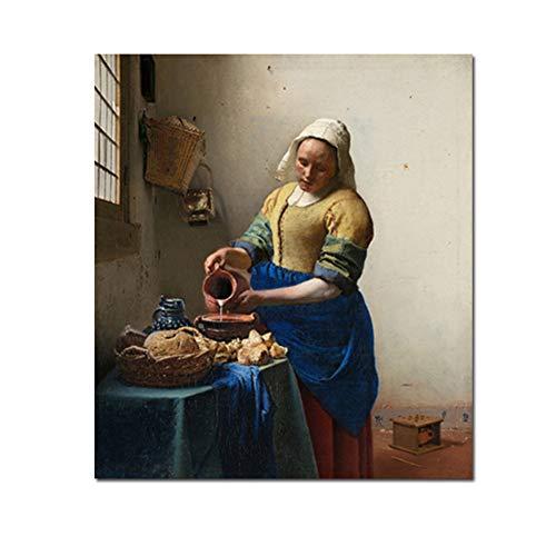 De Melkmeisje Beroemde Johannes Kunstenaar Schilderij Decoratieve Muur Canvas Schilderij Foto Grafisch Voor Woonkamer Decor-60x80cm Geen Frame