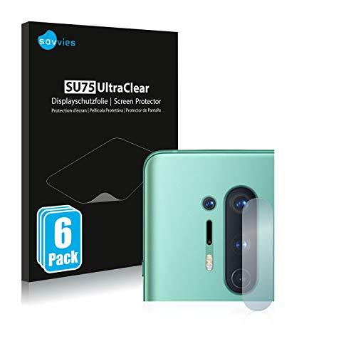 Savvies 6X Schutzfolie kompatibel mit OnePlus 8 Pro (NUR Kamera) Bildschirmschutz-Folie Ultra-transparent