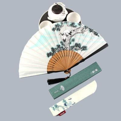 XKMY Abanico chino Hanfu Cosplay Dance Fan Verano Pequeño Vintage Encantador Abanico de mano portátil masculino plegable (color: A2)