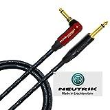 Cable de instrumento para bajo de guitarra, 2 metros, fabricado por World Best Cables, con cable Mogami 2524 y conectores Neutrik NP2RX-AU-SILENT y Neutrik NP2X-B de 1⁄4 pulgadas (6.35 mm) TS