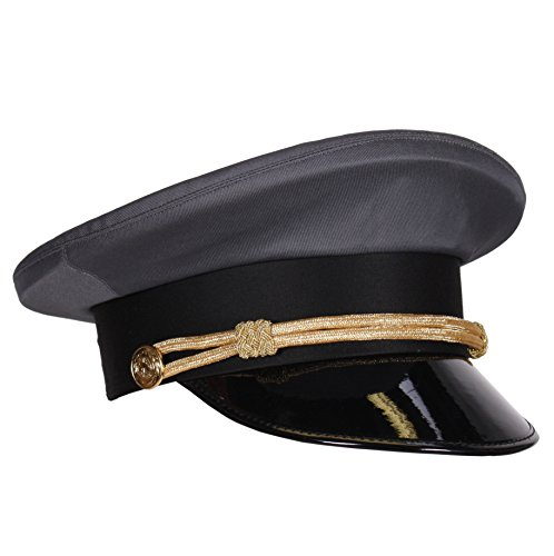 Kleidung zum Feiern Chauffeur-Mütze grau mit Kordel & Lackschirm | Hochzeits Fahrer Mütze | Größe 59 (59)