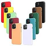 iVoler 10x Custodia Cover Compatibile con iPhone 12 e 12 PRO, Sottile Morbido TPU Silicone Custodie Case (Nero, Verde Scuro, Verde Chiaro, Blu, Arancione, Rosso Vino, Rosso, Giallo, Viola, Marrone)