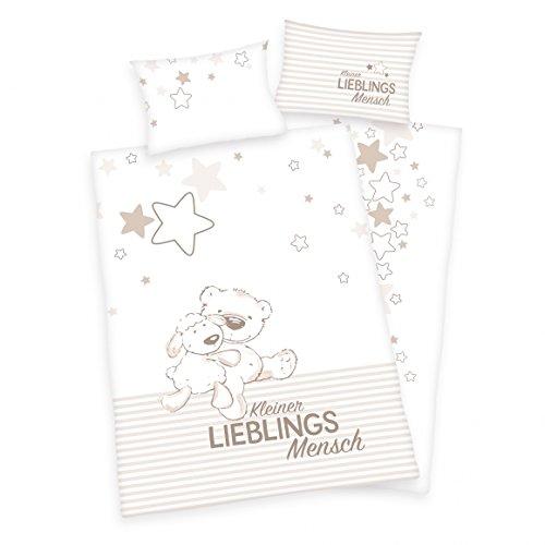 3 pièces Baby Parure de lit réversible Motif : petite personne plus préférée / kleiner lieblings Mensch - Renforcé 100 x 135 cm + 40 x 60 cm + 1 Drap Housse 70 x 140 cm