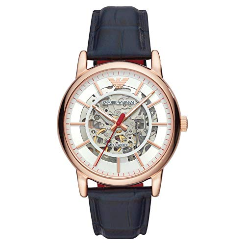 Emporio Armani Herren Analog Automatik Uhr mit Leder Armband AR60009