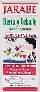 Jarabe Berro y Cebolla Rabano-Miel 8 Oz. Watercress and Onion Radish-Honey Syrup 3pcs with Free scentsy Odor Circle.