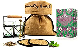 Pukka Motherkind Pregnancy Herbal Tea Hamper with Two Vintage Tea Glasses Antique Brass Tea Stand Coaster Set and Handmade Tea Spoon. All Packed in a rustic burlap gift bag.