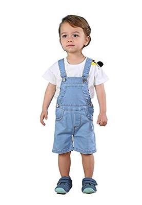 Kidscool Baby & Toddler Girls/Boys Bibs Light Blue Summer Jeans Shortalls,Light Blue,18-24 Months