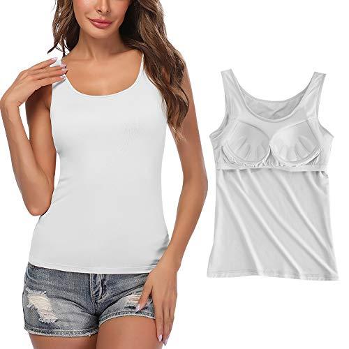 STARBILD Damen BH Hemdchen ohne bügel Unterhemd Basic U-Ausschnitt Eingebauter BH Gepolstert Tanktops für schlafen und Sport, Weiß L