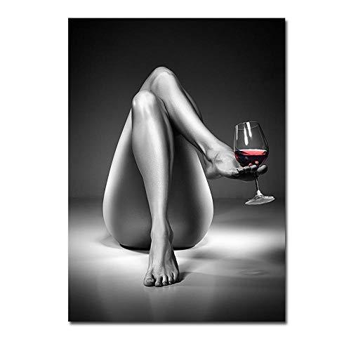 Pintura De Copa De Vino De Mujer Poster De Chica En Blanco Y Negro Arte De Pared De Moda Impresiones En Lienzo Moderno Cuadros para La Salon De Estar Decoracion del Hogar 40x60cm Sin Marco