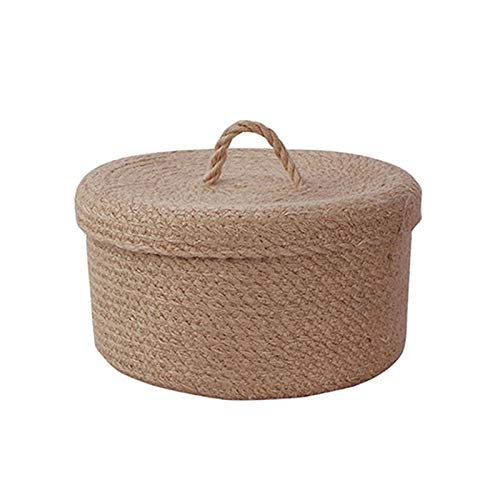 AYUAN Cotton Cope Storage Basket with Lid, Woven Storage Box Laundry Baskets Makeup Organizer Toy For Bathroom, Living Room, Kitchen