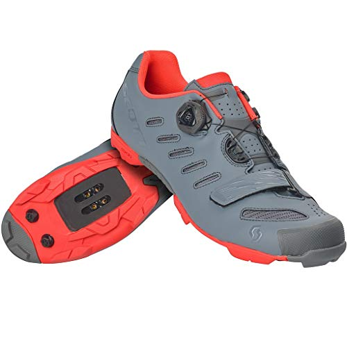 Scott MTB Team BOA Shoe (Cool Grey/Neon Orange, 46.0 EU) - Adults' 2020