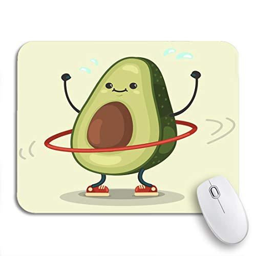 Adowyee Gaming Mouse Pad Cute Avocado Cartoon Character Doing Exercises Hula Hoop Eating 9.5'x7.9' Nonslip Rubber Backing Computer Mousepad for Notebooks Mouse Mats