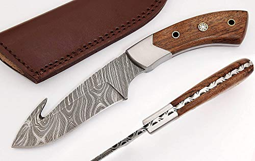 W Trading Custom Hand Made Damascus Steel Blade Hunting Knife, Skinning Knife with Leather Pouch. (2734) Skinning Knives for Men