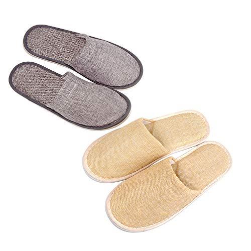 ASR - Set di 2 pantofole usa e getta, in cotone e lino, per viaggi, hotel, casa, interni, spa, ospiti, beige, grigio