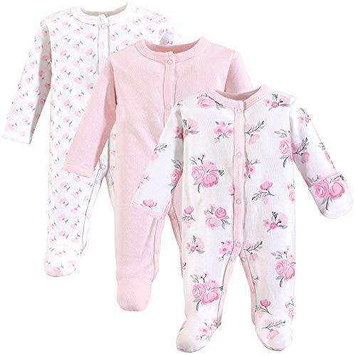 Hudson Baby Baby Preemie Sleep and Play, 3 Pack, Pink Floral