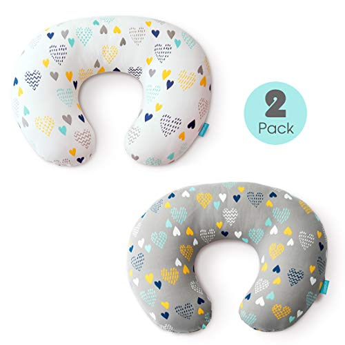 Stretchy Nursing Pillow Covers-2 Pack Nursing Pillow Slipcovers for Breastfeeding Moms,Ultra Soft Snug Fits On Infant Nursing Pillow,Heart Pattern