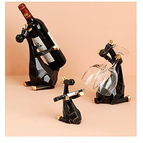 SYN-GUGAI Estante de Vino En Forma de Ciervo 3 Piezas, Puede Contener 1 Botella de Vino 2 Copas de Vino Y 1 Estante de Almacenamiento, Estatua de Animales (Color : C)
