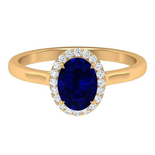 Anillo de compromiso de 1,71 quilates con zafiro azul, anillo de halo de diamante HI-SI, anillo de boda de oro macizo para mujeres, 18K Oro amarillo, Size:EU 67