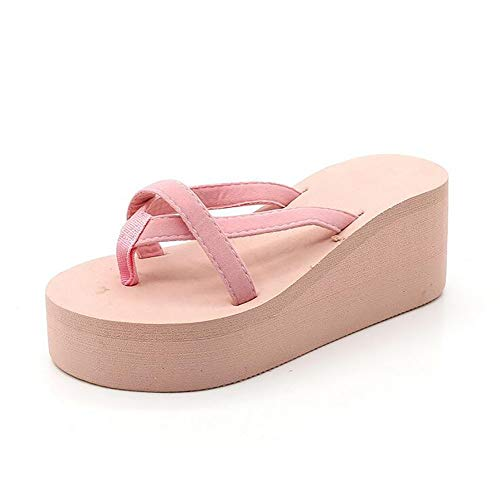 JFFFFWI Zapatos de Mujer Chanclas Sandalias de cuña Zapatillas de Playa Antideslizantes Tacones Altos de Suela Gruesa, Rosa, US5 / EU35 / UK3 / CN34