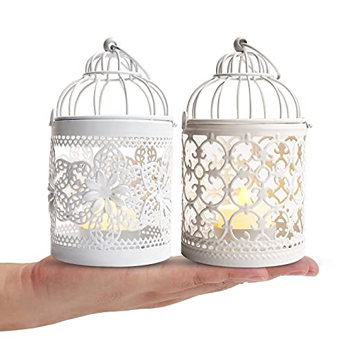 2Pack Hanging Candle Holder,JZLGROUP Birdcage Metal Vintage Small Lanterns Decorative Tealight Holder Centerpieces for Table Wedding Indoor Outdoor Party with 5.5 Inch Height