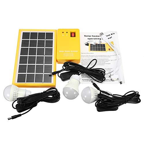 SISHUINIANHUA Panel Solar de 5V con 3 Bombillas LED Sistema de generador Solar Cargador USB sobre Descarga Protección para iluminación de Camping Interior/Exterior