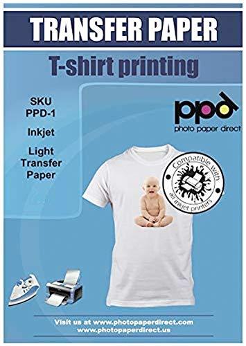 PPD A4 x 20 Hojas de Papel de Transferencia Térmica Para Camisetas, Mascarillas y Tejidos Blancos o Claros - Para Impresora de Inyección de Tinta Inkjet - PPD-1-20