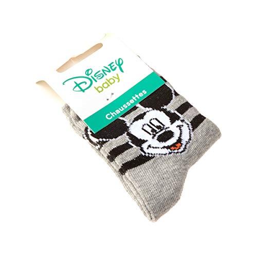 Mickey Mouse Chaussette Niveau mollet - 1 paire - Sans bouclette - Talon coloré - Coton - Gris - Disney - 19/22