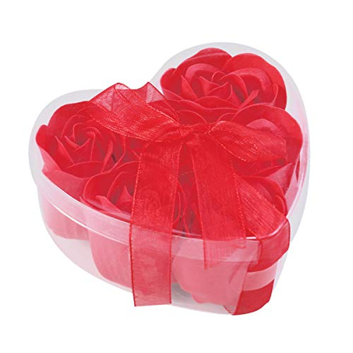 Lurrose 6pcs simulation rose savon savon savon en forme de coeur fleur savon boîte cadeau pour femmes filles anniversaire Valentin (rouge)