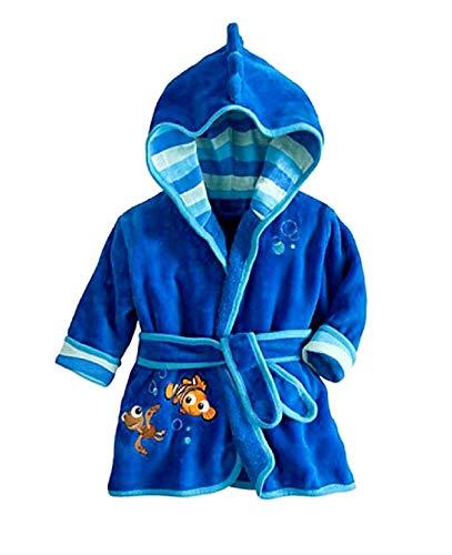 KIRALOVE Fisch Bademantel - nemo Schlafzimmer Bademantel - Nacht - Pyjama - Junge - weiches Fleece - mit Kapuze - Zeichen - größe 110-3/4 Jahre - blau