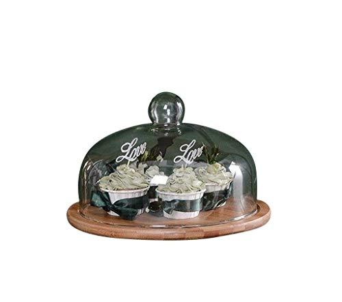Haushaltsgerät Holztorte Teller mit Deckel, Restaurant Steak Obsttablett Party Falafel Gewölbte Tortenständer Chip \U0026 Amp; Dip Server 18 / 21Cm, lsxysp,