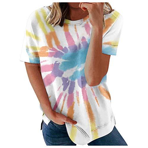HUBA Damen T-Shirt Tank Top Ärmellose Kurzarm Tie-Dye-Druck Sommer Oberteil Casual Loose Hemd Bluse Basic Shirt O-Ausschnitt Bluse elegant Tee Tops(S-2XL)