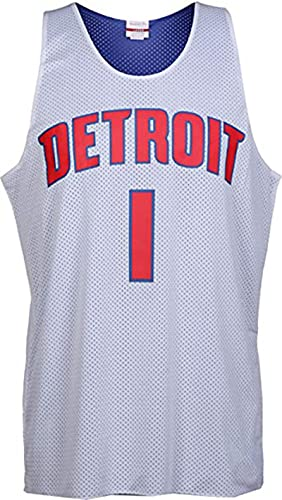 POLIAB Men's Allen Detroit Breathable Basketball Iverson Pistons Training Jersey Vest Sportswear #1 White Classic Clothing