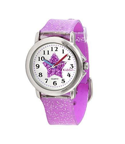 KIDDUS Modische Mädchenuhr für Kinder. Analoge Armbanduhr für Kinder mit Übungen zum Uhrzeit Lernen und...