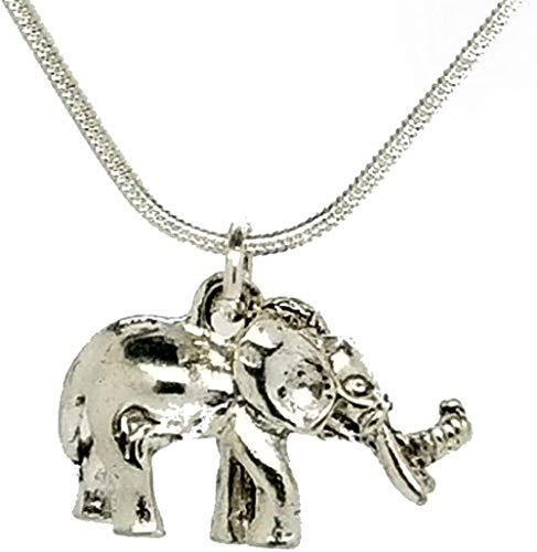 MNMXW Elefante, Loro, pájaro, Gato, Tortuga, Collar, Cadena de Plata esterlina, Esmalte, Colgante de Diamantes en una Bolsa de Regalo de Organza