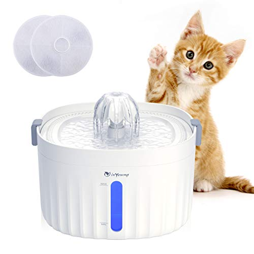 isYoung Pet Fountain, 64oz/1.9L Cat Water Fountain for Cats and Small Dogs, Super Quiet Auto Power-Off Cat Water Dispenser with Smart LED Light