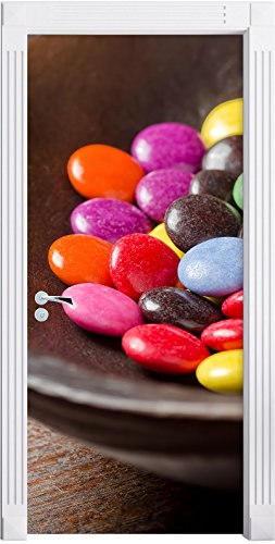 Stil.Zeit Möbel Chocolat Smarties Bonbons au Chocolat comme Mural, Format: 200x90cm, Cadre de Porte, Porte Autocollants, décoration de Porte, Porte Autocollants