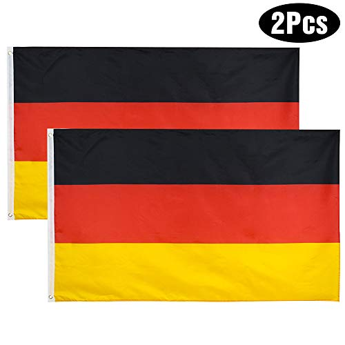YHmall 2 PCS Deutschland Flagge 150x90cm / Französische Flagge/Spanische Flagge/Italienische Flagge, Konferenzflagge, Gartenflagge, Parade-Flagge, Ballspiel-Flagge