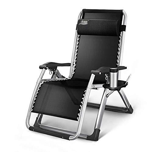Bequemer Gartenstuhl mit Sofa-Liege im Garten und im Freien Klappbarer Liegestuhl mit Liegestuhl für bis zu 200 kg (Farbe: Vollschwarz)