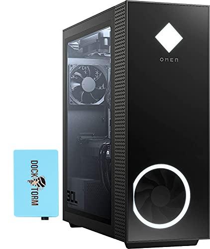 HP OMEN 30L GT13 Gaming & Business Desktop PC Jet Black (AMD Ryzen 5 5600G 6-Core, 16GB RAM, 1TB SSD, RTX 3060, WiFi, Bluetooth, 1xHDMI, 3 Display Port (DP), Win 10 Home) with Hub
