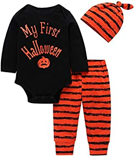 iZHH Newborn Baby Boy Girls Halloween Clothes Outfits Romper Letter Print Long Sleeve with Hat and Pants Sets 3 Pcs Infant Toddler Trouser(Black,18-24 Monthes)